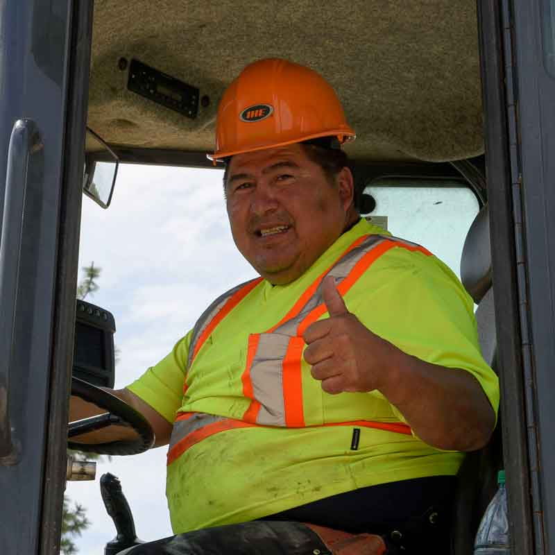 An Indigenous partner at the Interior Heavy Equipment School on a training site