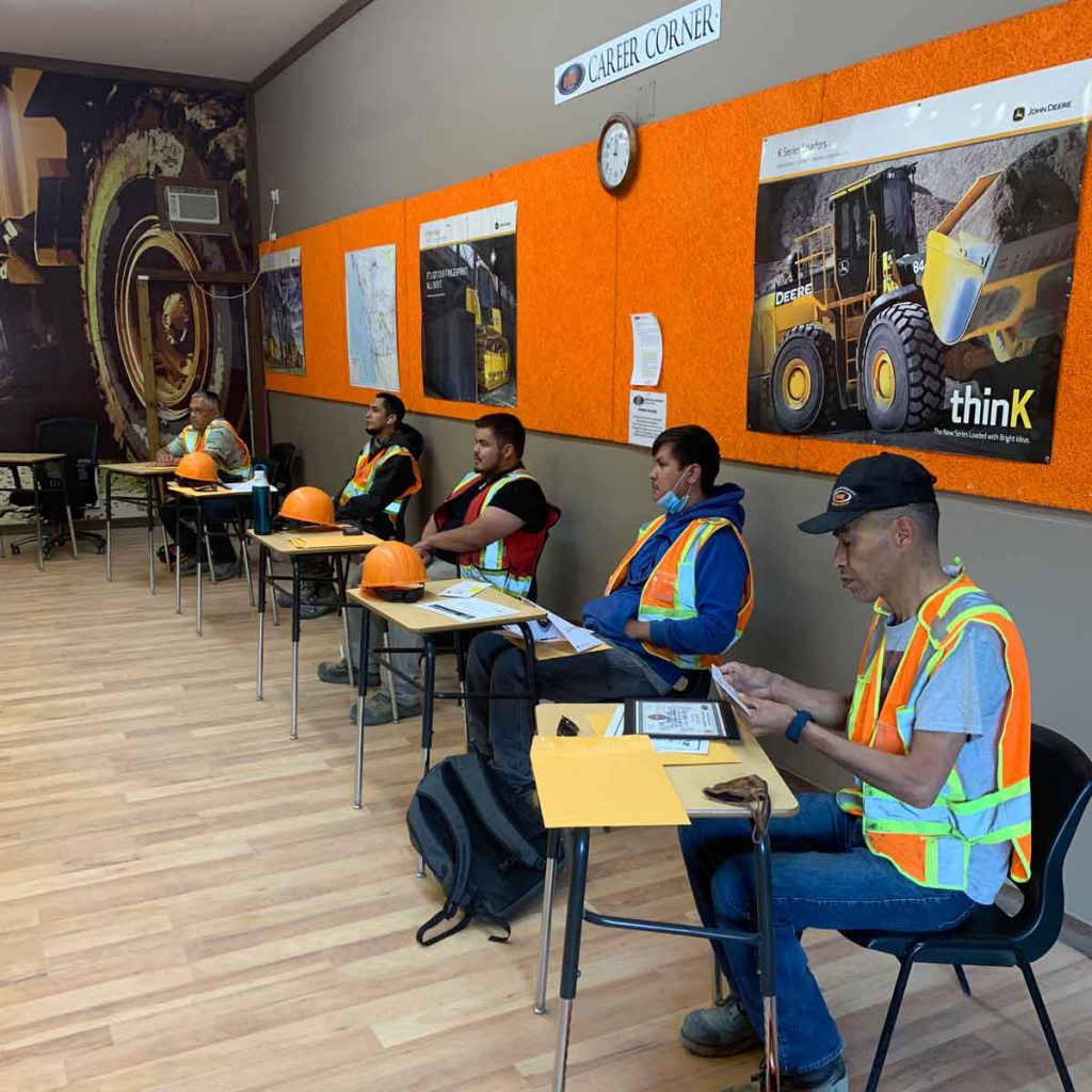 Indigenous partners at the Interior Heavy Equipment School are learning theory in the classroom